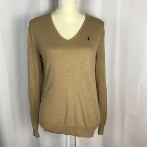 Ralph Lauren boyfriend fit sweater tan linen blend